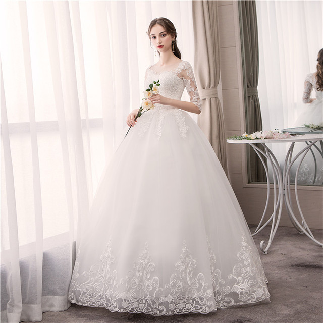 Do Dower O Neck Half Sleeve Wedding Dress Fashion Slim Lace Embroidery Lace Up Plus Size Custom Made Wedding Gown Robe De Mariee 3