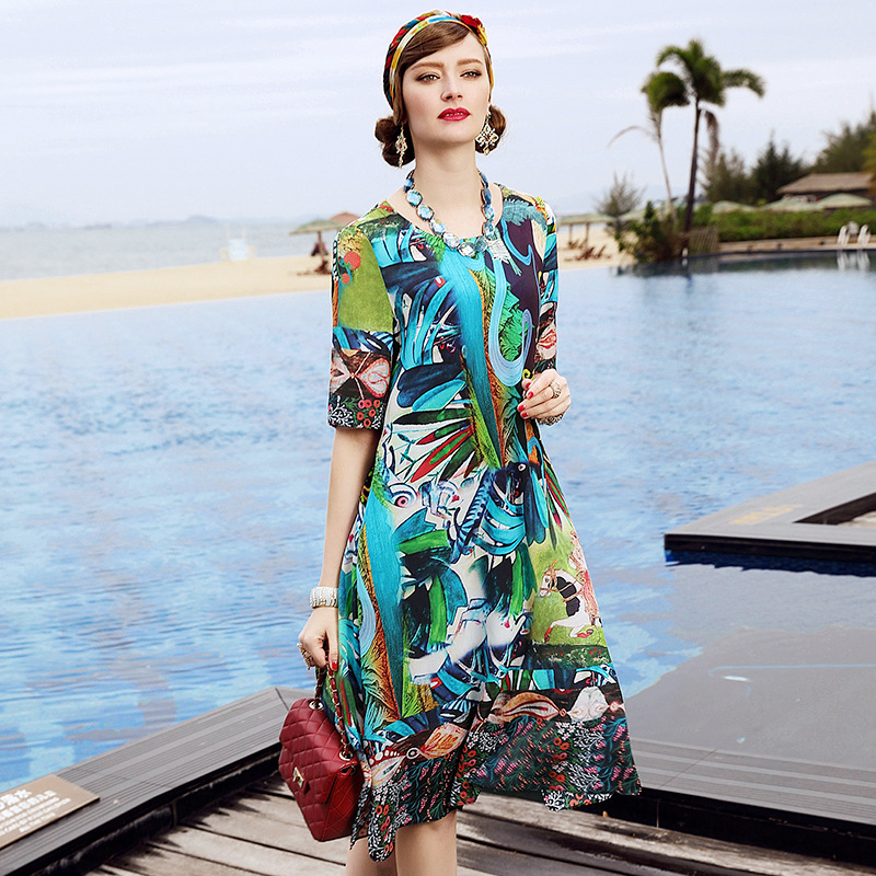 A3ZT913 Europe and United States Spring&Summer women's clothing Summer Printing Dress Ladies 100% Silk Dress купить