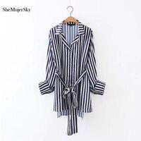 SheMujerSky Striped Women Shirts Long Blouses Woman Summer 2017 Kimono Cardigan Casual Shirt