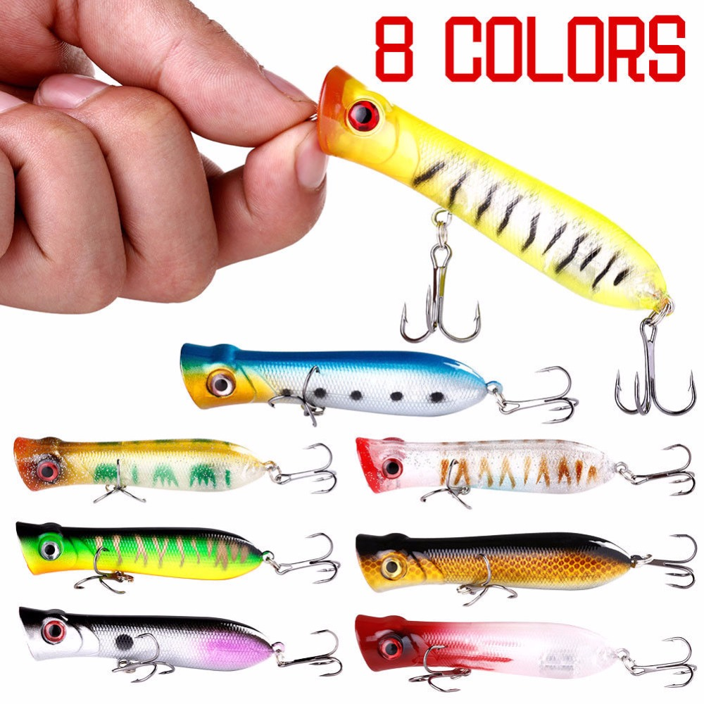 Image 2 - 5 Pcs Topwater Fishing Lure Popper Crankbait ABS Plastic 3D eyes Saltwater Fishing Lures Wobbler Sea Bass 102mm 12g-in Fishing Lures from Sports & Entertainment