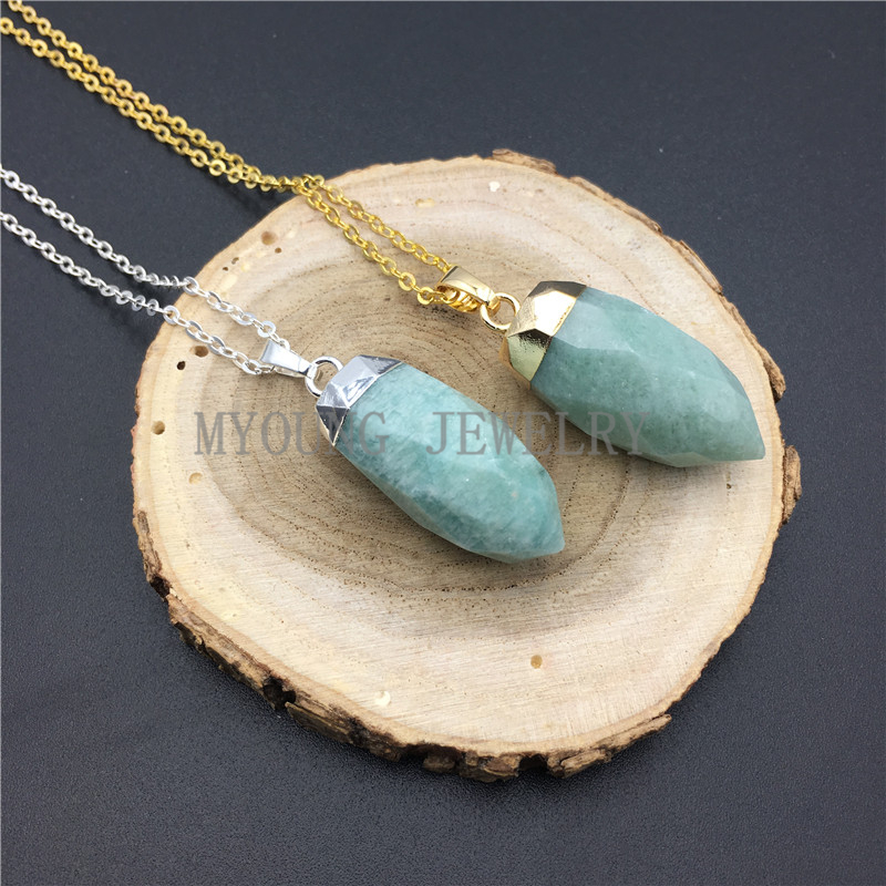 GP08309 Petite Amazonite Pencil Point Pendant With Silver Plated Cap And Bail Faceted Amazonite Bullet Spike Pendant Charm