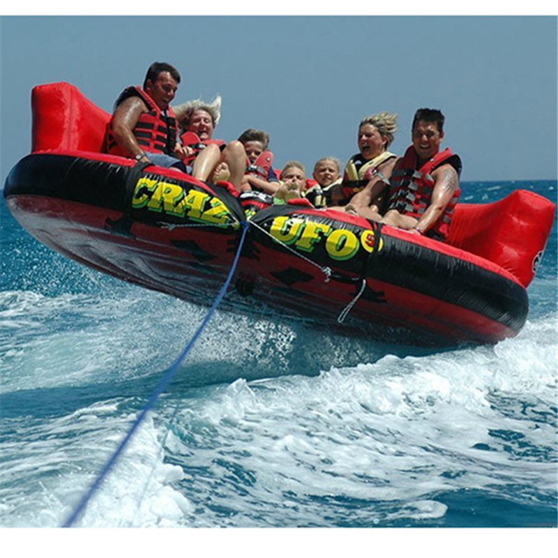 Summer promotion various inflatable water toys for sale, 5m Diameter inflatable water crazy UFO with air pump 4 1m red colour inflatable towable tube crazy ufo flying boat inflatable water sofa for summer water park