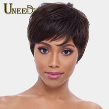 Uneed Natural Wave Wigs Remy Brazilian Lace Front Wig For Women 100% Human Hair Machine Made No Smell 6 Inch,1B,63g(China)