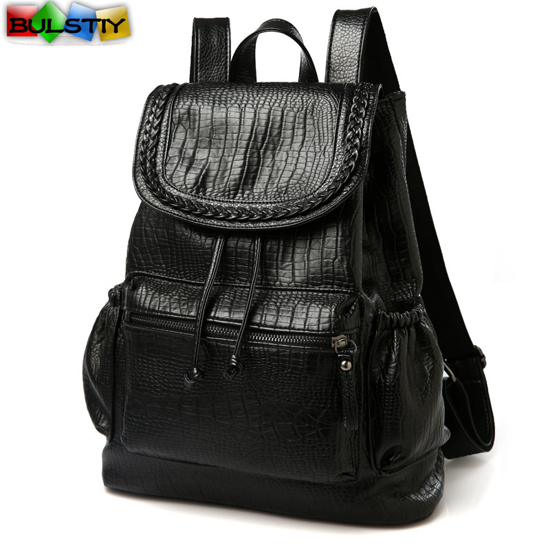 Kpop Rushed 2017 New Arrival Women Backpack Casual Bag Leather Girl s Solid String Softback Pu