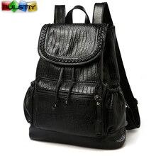 KPOP бросился Новое поступление 2017 года женщины рюкзак Повседневная кожаная сумка девушки Твердые строка softback pu в для учащихся средних школ
