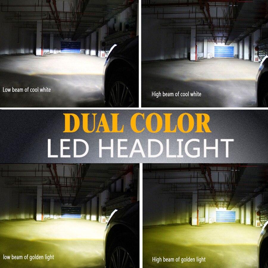 Auto Led Light Dual Color H1 H4 H7 9005 9006 H11 9012 H15 Car Driving Fog Lights 44w 4000lm Headlights 3000k 6000k Bulbs 12v led light auto headlamp h1 h3 h7 9005 9004 9007 h4 h15 car led headlight bulb 30w high single dual beam white light