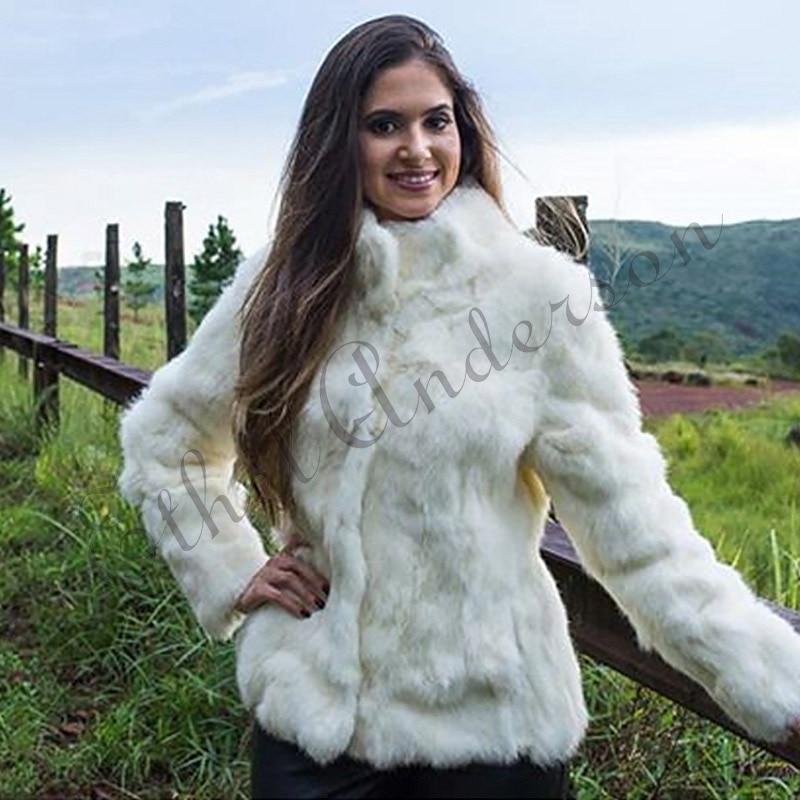 Ethel Anderson Women's Real Rabbit Fur Coat Stand-up Collar Design Jacket White/Black