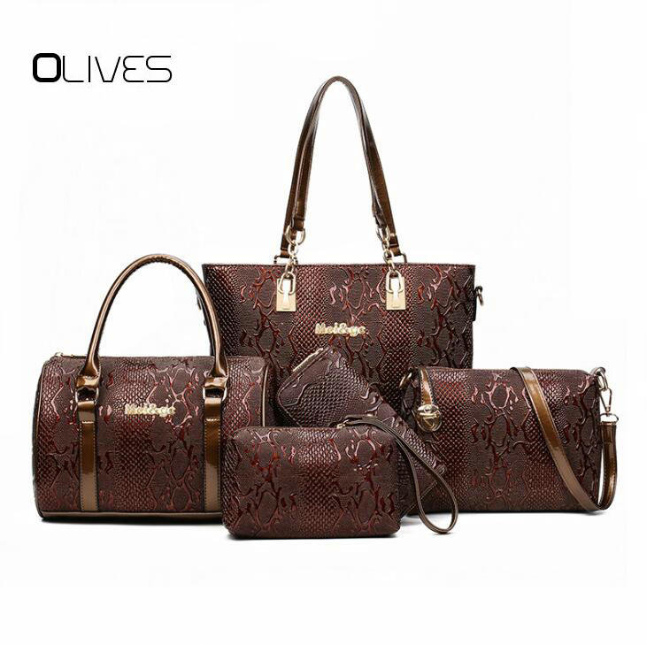 OLIVES Brand 2018 Luxury Women Bag 5 Piece Set Serpentine Python Women Tote Lady Handbag Messenger