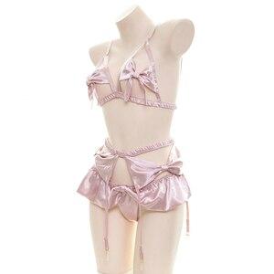 Image 4 - ผู้หญิงBowknotบิกินี่ชุดนอนชุดญี่ปุ่นKawaiiอะนิเมะชุดชั้นในเปิดกางเกงCrotchless Garter Seduciveชุดชั้นในชุด