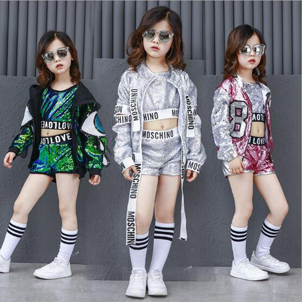 2018 New Children's Modern Jazz Dance Costumes Suit Girls Jazz Sequin Alphabet Band Hip Hop Street Dance Clothes Performance Set