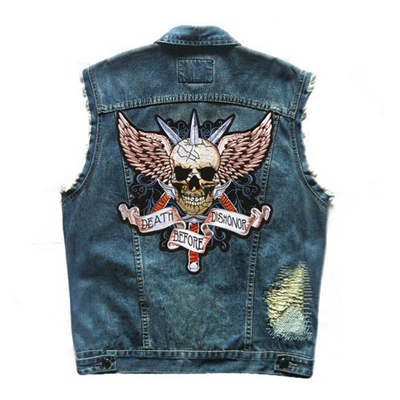 Herobiker Motorcycle Jacket Retro Vintage Motorcycle Vest Hip-Hop Vest Cowboy Vest Punk Embroidered Coat Moto Skull Waistcoat sequin embroidered zip up jacket