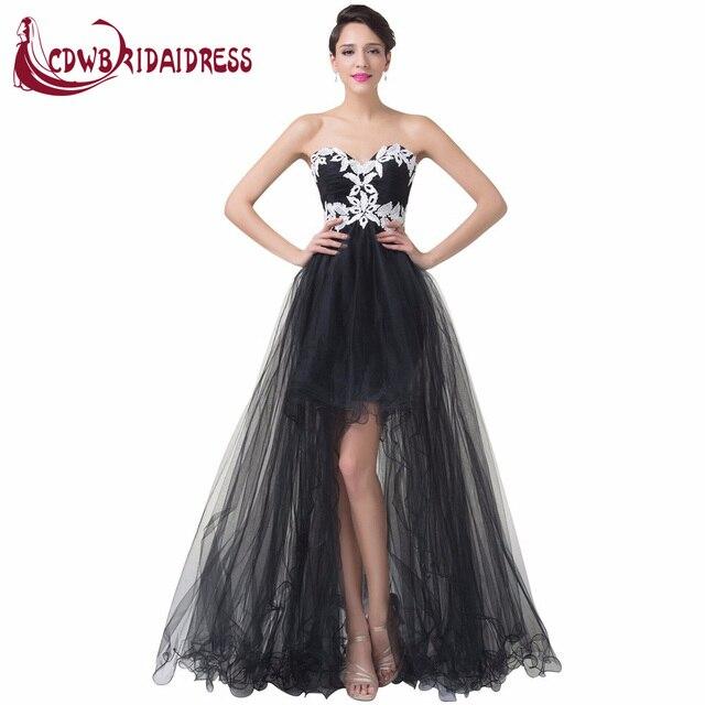 be810806a Últimos Diseños Vestidos de Noche Negros Con Blanco Apliques de Encaje de  Tul Trasero Largo Delantero