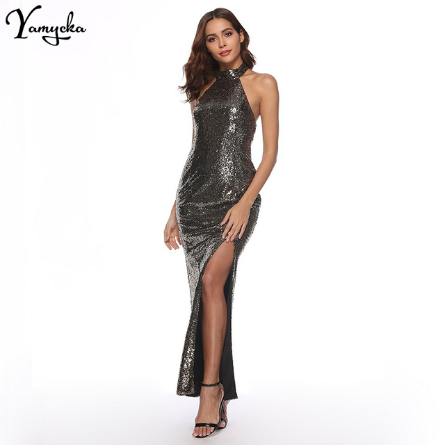 9712d12c2dc Sexy Backless Summer Maxi Dress Women Halter Black Gold Forking Sequin  Sundress Luxury night club Evening Party Dresses vestidos