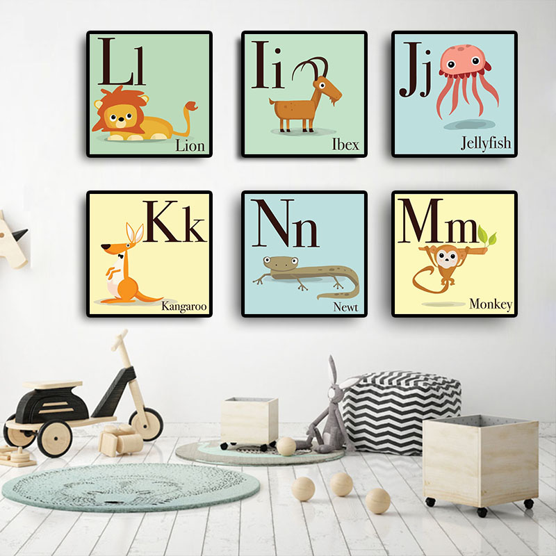 English Alphabet Letter Animal Art Nursery Scandinavian Posters And Prints Clroom Nordic Style Minimalist For Kids Room Decor