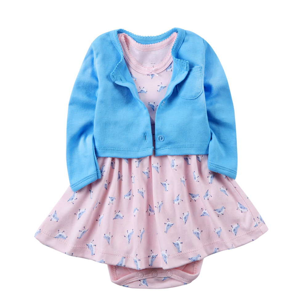 Dress Toddler Baby Girls Summer Clothes Infant Skirt Vestido Floral 100%cotton Long sleeves 2pcs/set 9-24 months