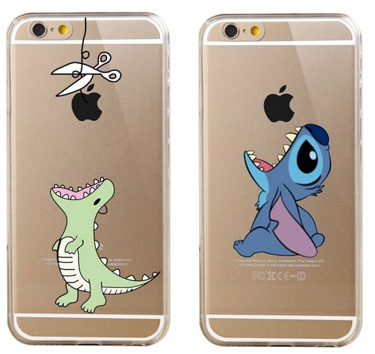 Dinosaur Stitch Eat Soft TPU Clear Case for iPhone X XR XS Max 8 6S 6 7 Plus -in Fitted Cases