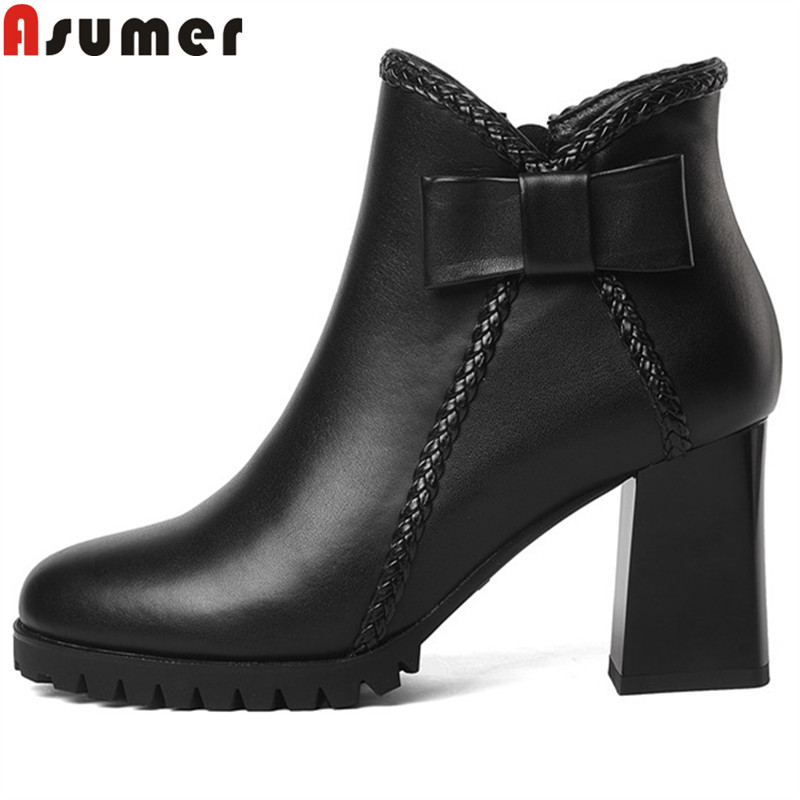 ASUMER big size 34-41 fashion autumn winter boots women round toe zip genuine leather boots thick high heels ankle boots  ASUMER big size 34-41 fashion autumn winter boots women round toe zip genuine leather boots thick high heels ankle boots