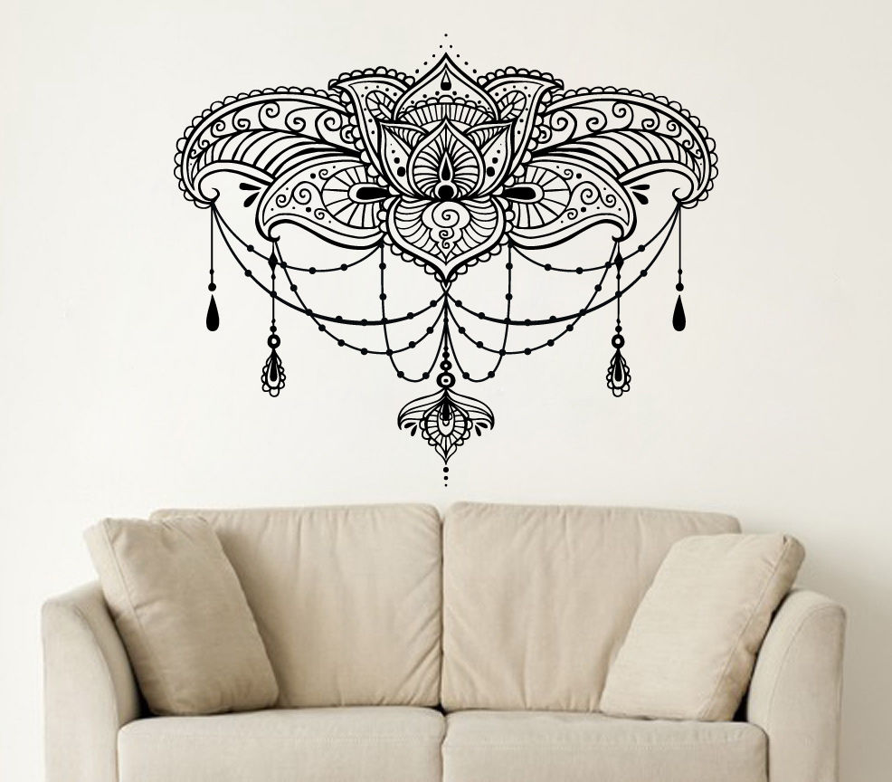 26in*22in Wall Decals Yoga Lotus Namaste Indian Buddha Decal Vinyl wall  Sticker Home Decor