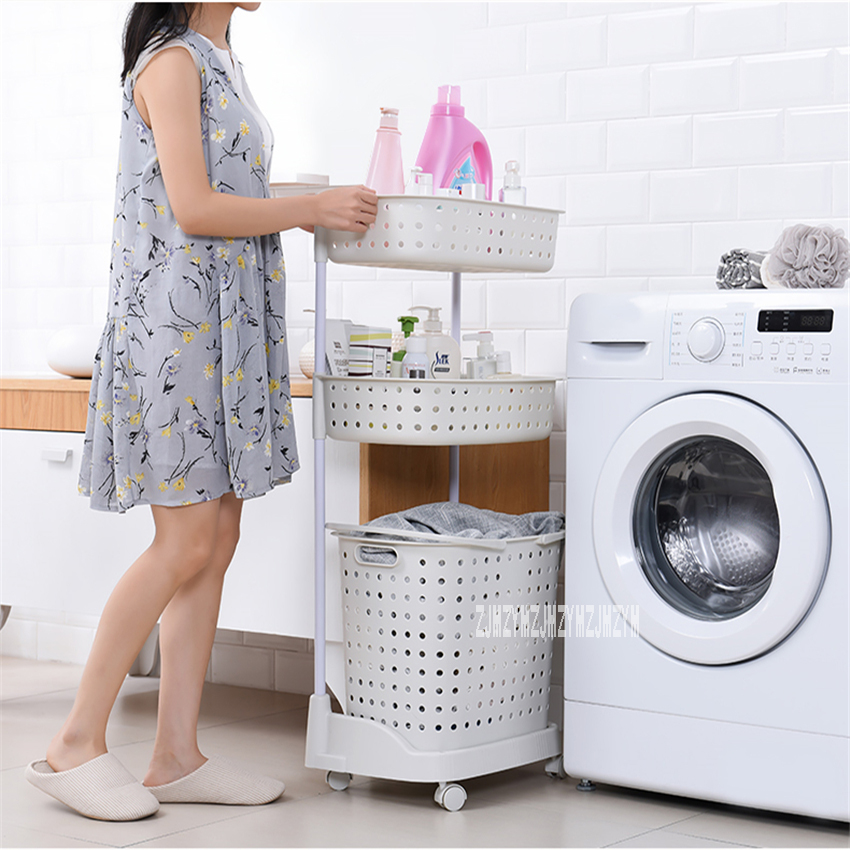 8810 Plastic Laundry Basket Super Load Bearing Dirty Clothes Basket Multi Layer Mbined Type Toy Storage Basket With Pulley|Laundry Sorters| |  - title=