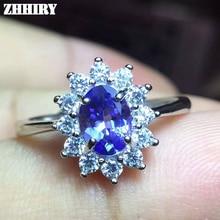Zhhyy natural tanzanita anillo azul piedra preciosa genuino sólido 925 plata esterlina real gem mujer Joyería fina