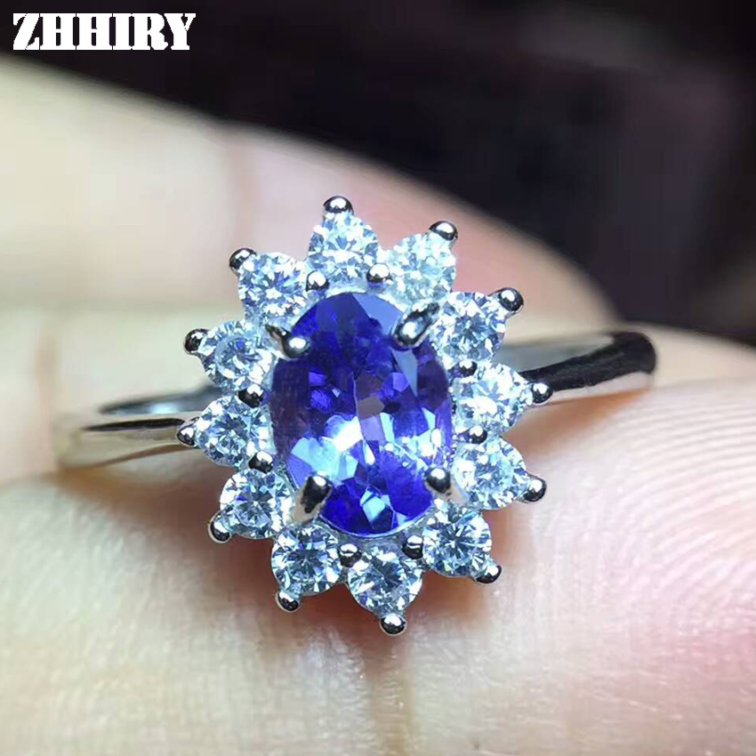 ZHHIRY Natural Tanzanite Ring Blue Gemstone Genuine Solid 925 Sterling Silver Real Gem Woman Fine Jewelry