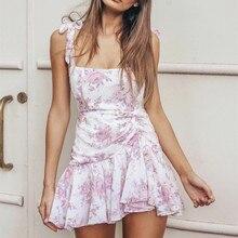 Розовое цветочное мини-платье на бретелях женская летняя одежда без рукавов, без бретелек и без спинки сексуальное платье Пляжная Вечеринка короткое платье