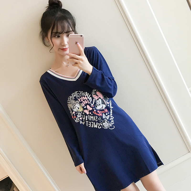 New Cotton   Nightgown   Women Lounge Cute 100% Cotton Nightdress Cartoon Sleepwear Short Sleeve Casual Nightwear   Sleepshirts
