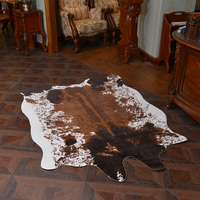 High grade brown cow leather carpet large carpets for living room tapetes para sala de estar faux fur rug fashion alfombra