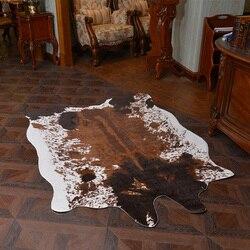 Wysokiej jakości brązowa skóra bydlęca dywan duże dywany do salonu tapetes para sala de estar dywan ze sztucznego futra mody alfombra w Dywany od Dom i ogród na