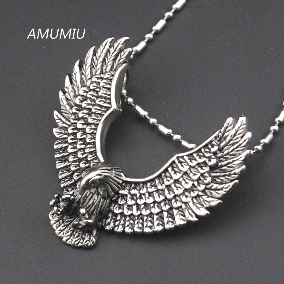 AMUMIU 316L Stainless Steel Eagle Pendant Necklace Biker Jewellery Men's Fashion