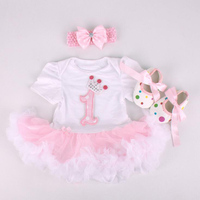 Dollbling New Baby Girl Clothing Sets Infant Bunny Lace Tutu Romper Dress Jumpersuit Headband Shoes 3pcs