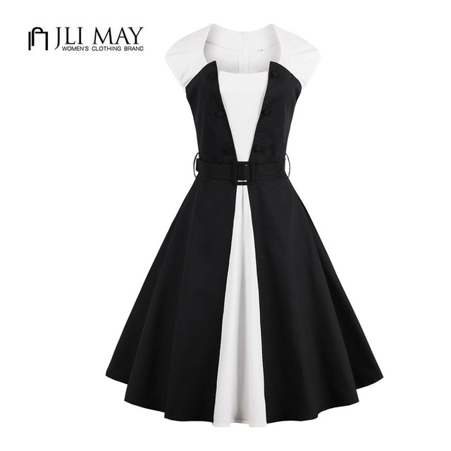 US $28.5  JLI MAY women black and white swing dress Patchwork belted  Vintage summer o neck sleeveless pinup Plus size 50s Hepburn party -in  Dresses ...