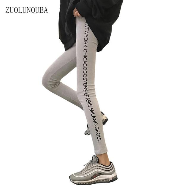 Fashion Autumn Thin Cotton Leggings Female Korean Style Women Slim Thin Letter Print Harajuku Casual Nine Leggings