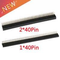 5 pces 1x40 2x40 pinos 2.54mm espaçamento ângulo direito 90 graus única/dupla fileira fêmea soquete encabeçamento rectangular conector receptáculo