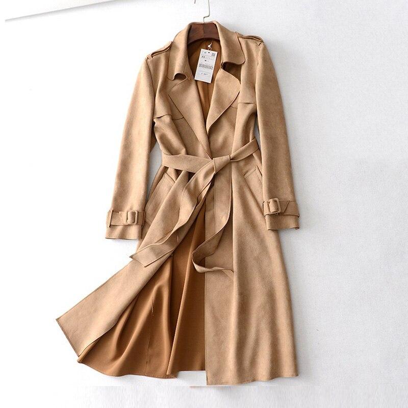 Automne hiver daim femmes Long Trench manteaux Camel ceintures coupe-vent manteau rose Armygreen gris vêtements d'extérieur