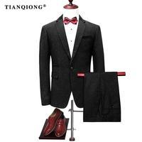 TIAN QIONG Mężczyzna Odpowiada 2017 Slim Fit Czarny Groom Ślub, Eleganckie Prom Party Garnitury dla Mężczyzn Wysokiej Jakości Formalne nosić (kurtka + Spodnie)
