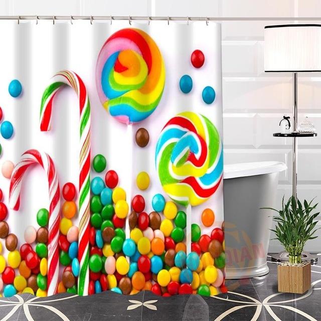 100 Polyester Custom Candy Shower Curtain Fabric Modern Bathroom With Hooks Bath Screens