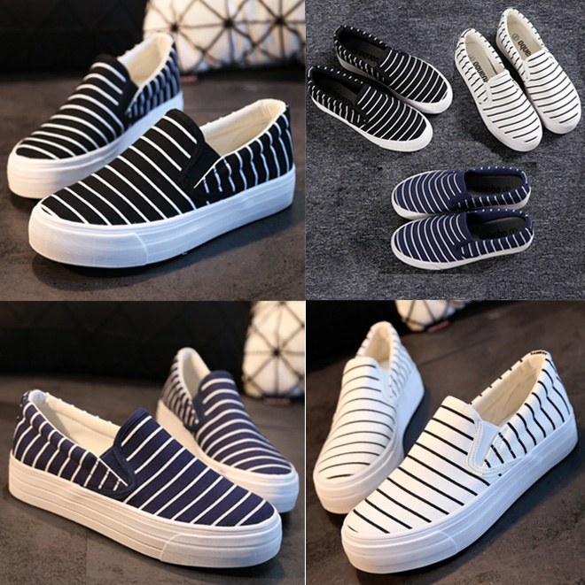 658478a47b US $33.82 |2015 Striped Canvas Slip on Pregnant Loafers Round Toe Casual  Shoes Women Flats Shoes Woman Espadrilles Black Navy-in Loafers from Shoes  on ...