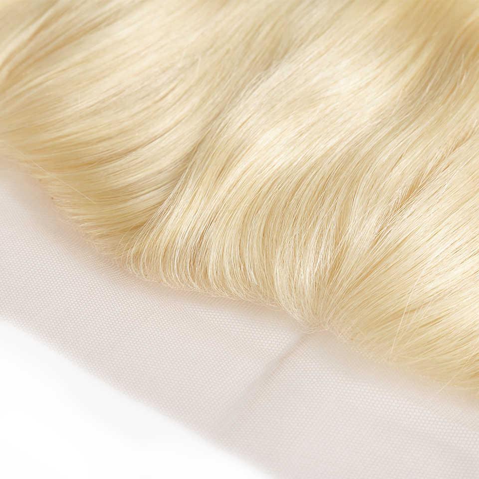Оплетка ILARIA волос бразильские 613 пучки светлых волос с кружевной фронтальной застежкой прямые светлые человеческие волосы ткет с закрытием