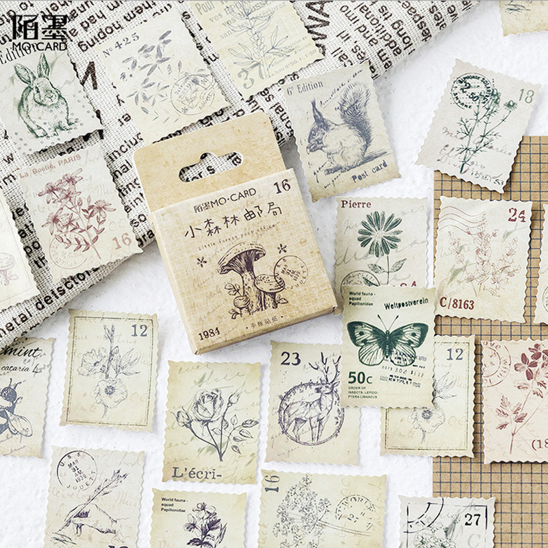 46 Pcs/box Vintage animal stamp mini paper sticker decoration DIY diary scrapbooking seal sticker kawaii stationery 45pcs box cute animal crystal ball mini paper decoration stickers diy diary scrapbooking seal sticker stationery school supplies