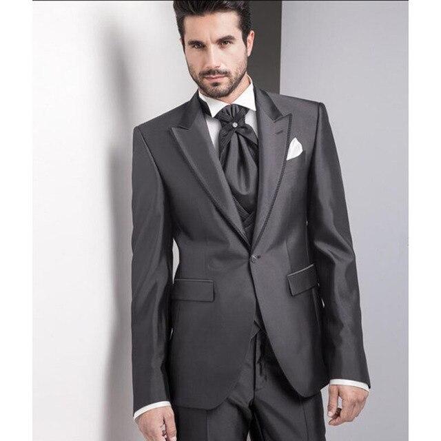 2017 Italian Charcoal smoking masculino wedding suits tuxedo for ...