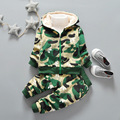 2016 winter new Korean version of children's wear camouflage suit boys and girls baby velvet warm child suits