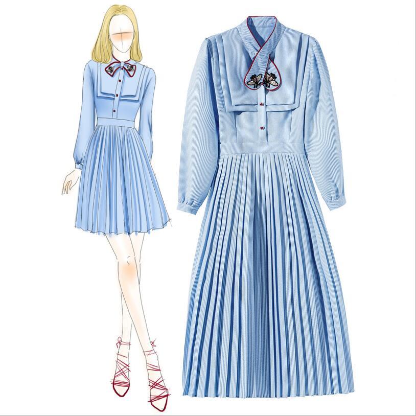 Femmes New Boutique Automne Rayures College Mode Robe Arc Broderie De Style Plissée I6pqcWEqB