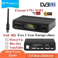 Free GTmedia v7 Upgrade Digital Satellite TV receiver Full 1080P DVB S2 V7S HD+USB WIFI with 1 Year Europe clines Decoder TV Box