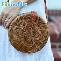 64c6e5f90 2019 Summer New Rattan Bag Pure Handmade Qiuteng Basket Exotic Scenery  Rattan Basket Bag Beach Cross