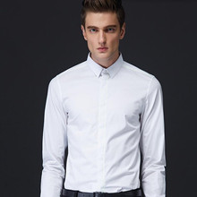 New males's shirts white long-sleeved groom costume shirt high fashion enterprise informal interview get together costume shirt
