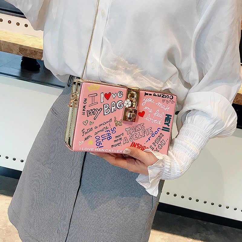 """Популярный с буквенным проектом """"Граффити"""" коробка дизайн для женщин из искусственной кожи Для женщин вечерние клатч сумка через плечо сумки из натуральной кожи через плечо сумка с клапаном"""
