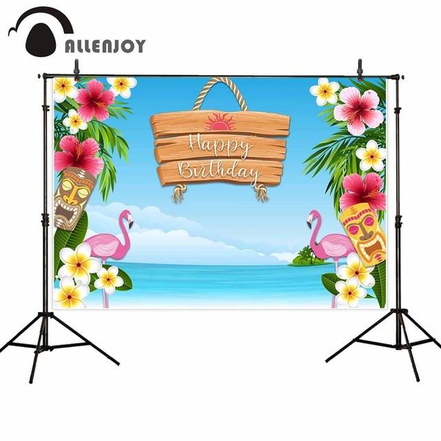 Allenjoy backgrounds for photography studio Blue sky sea island totem pole flamingo backdrop hawaiian party tropical photocall