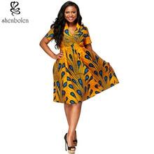 2017 mulheres roupas com decote em v impressão Ankara wax Africano tecido batik vestidos de impressão de moda vestido de manga curta