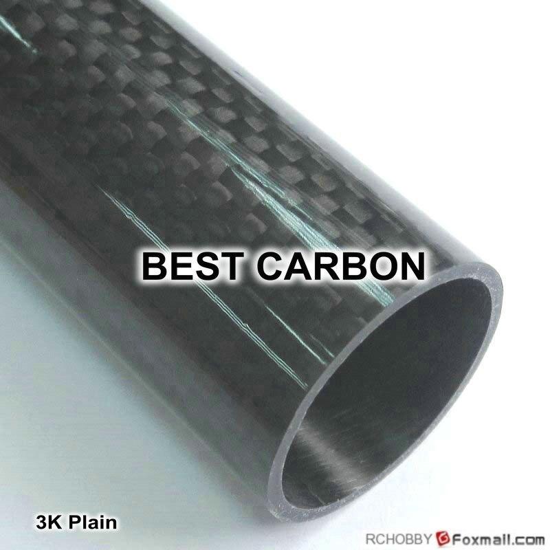 27 mm x 25 mm x 1000 mm haute qualité 3 K Fiber de carbone ordinaire tissu plaies / winded Tube